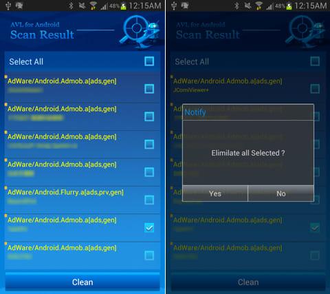 AVL:スキャンの詳細結果(左)不要なアプリはアンインストールできる(右)