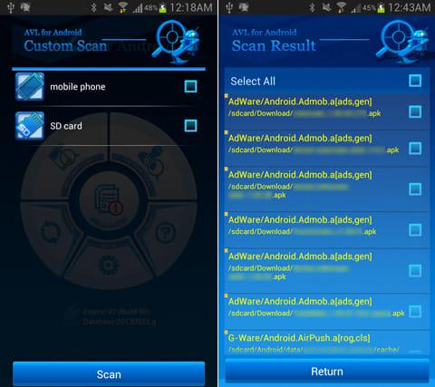 AVL:「CUSTOM SCAN」から、端末だけでなく、SDカードのスキャンも実行できる