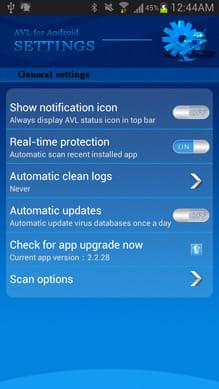 AVL:「Real-time protection」をONにすると、アプリをインストールした際に自動でスキャンを実施する