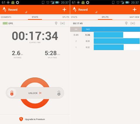 Strava Run GPS Running Tracker:ランニング中の画面(左)スプリット画面(右)