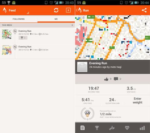 Strava Run GPS Running Tracker:記録一覧(左)記録の詳細(右)