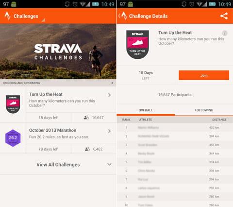 Strava Run GPS Running Tracker:チャレンジ一覧(左)チャレンジの詳細(右)