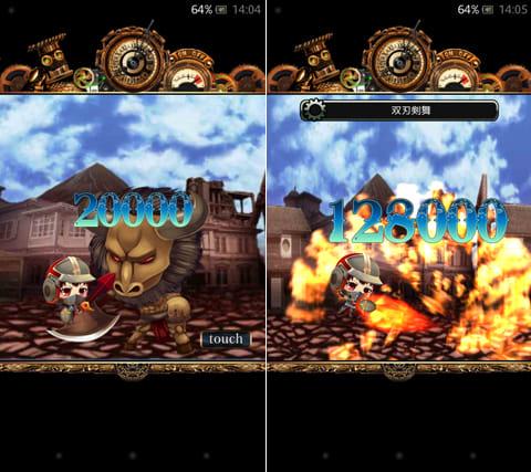 戦国サモンギア ~蒸気英雄譚~:レイドボスと呼ばれる強敵との戦闘(左)必殺技を発動(右)