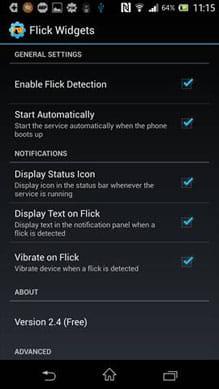 Flick Widgets:詳細な設定メニュー