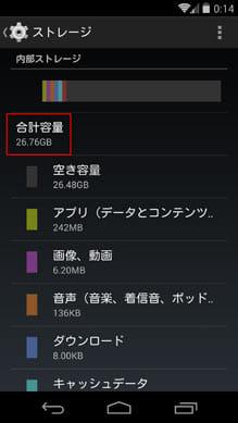 32GBモデルですが、実際に利用できるのは25GB程度