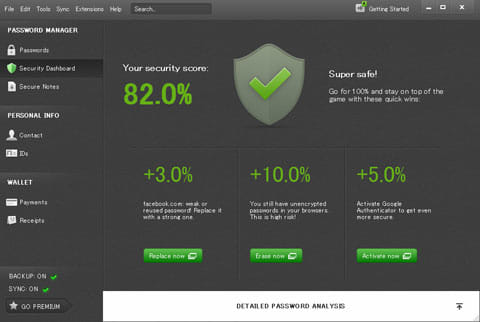 Dashlane Password Manager:PC版のホーム画面