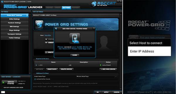 Power-Grid:PC側ソフト(左)とスマホ側アプリ(右)をマッチング