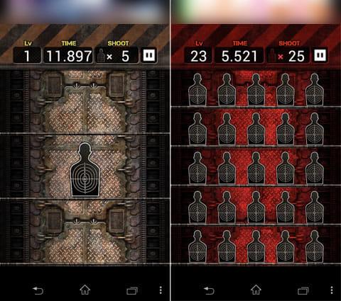 限界射撃Lv99:的の表示は基本1枚ずつ(左)複数枚まとめて表示される時もある(右)