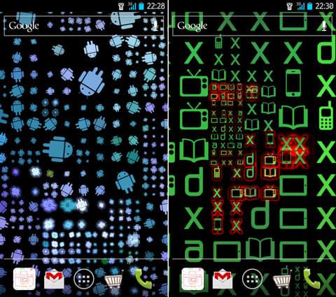 Ditalix Live Wallpaper Suite:Shapeを「Androids」(左)、「XDA」(右)にしてカスタマイズ。デザインや背景イメージを変えて楽しもう