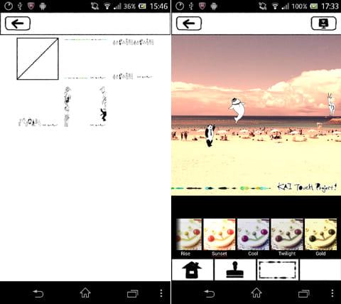 カイタッチ!:フレーム一覧画面(左)画像加工後の画面(右)