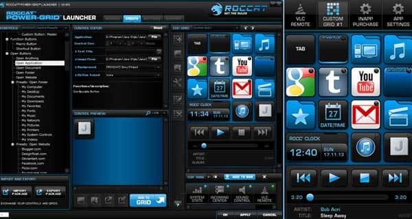Power-Grid:PC画面(左)スマホ画面(右)カスタマイズした機能を設定・登録できる「CUSTOM GRID」