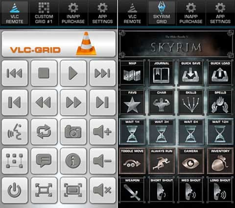 Power-Grid:「VLC media player」用のプリセット(左)「The Elder Scrolls V: Skyrim」用のプリセット(右)