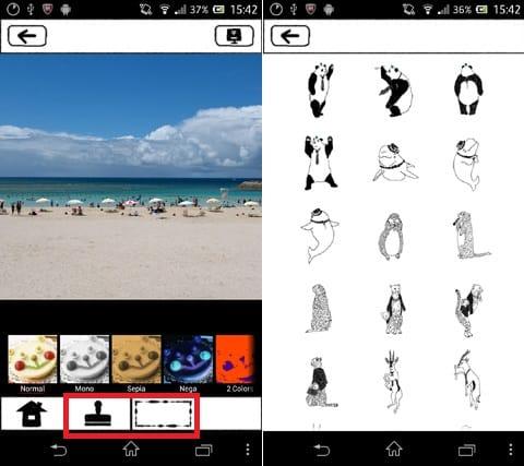 カイタッチ!:画面下部のアイコンからスタンプやフレームを挿入できる(左)スタンプ一覧画面(右)