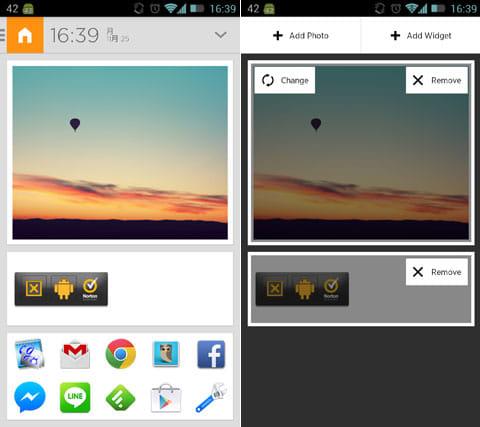 Aviate Beta (Invite Only):編集前の画面(左)画面の長押しから、画像、ウィジェット、アプリアイコン等の変更ができる(右)