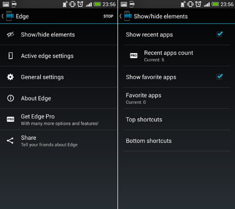 Edge: Quick Actions:設定項目画面(左)「Show/hide elements」メニュー(右)