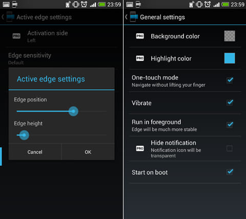 Edge: Quick Actions:「Active edge settings」画面(左)「General settings」画面(右)