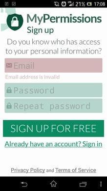 Online Privacy Shield:サインアップ画面