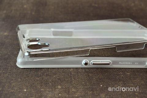 スケルトン性なので、Xperia Z1のデザインをまるまる見せられます