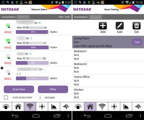 NETGEAR WiFi Analytics:周辺のアクセスポイントが分かる「Network Status」(左)自宅のWi-Fi強度を記録できる「Home Testing」(右)