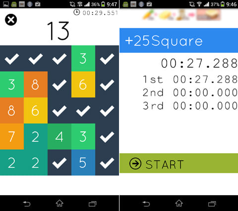 足し算 +25Square:1度選んだパネルは使えなくなる(左)10問答えるまでの時間が記録される(右)