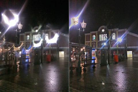 A Better Camera:通常の撮影画面(左)HDRモードでの撮影画面(右)