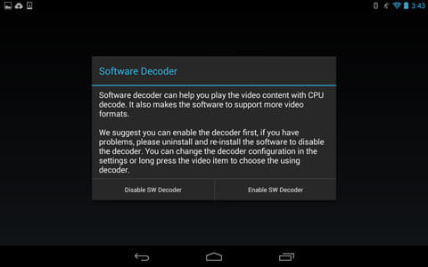GPlayer (Super Video Floating):右側の「Enable SW Decorder」を選択