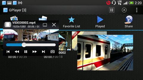 GPlayer (Super Video Floating):左が「操作パネルあり」、右が「小窓いっぱい」にした状態