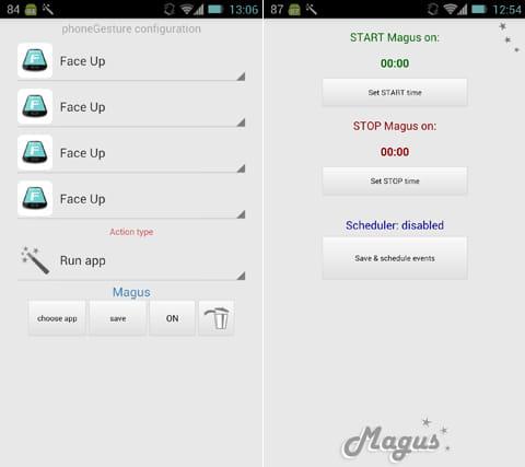 Magus 3D Gesture Launcher:アクション登録画面(左)スケジュール登録画面(右)