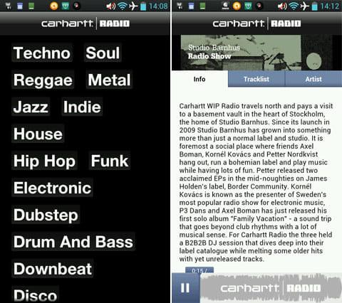 Carhartt Radio:「Filter」で音楽ジャンルを厳選できる(左)現在再生中の音楽の詳細(右)
