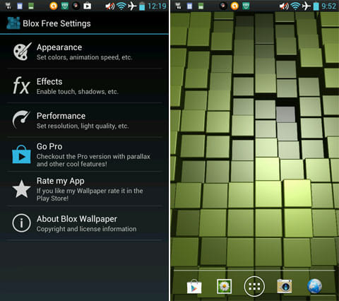 Blox Free: Live Wallpaper:設定画面(左)ブロックのカラーをグリーンへ変更(右)