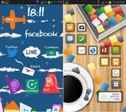 coromo 3秒で切り替える全く新しいホーム画面:「Airplane Track」のテーマ(左)「Blocks Toy」のテーマ(右)
