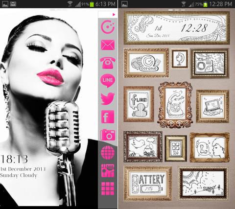 coromo 3秒で切り替える全く新しいホーム画面:「Hide lcon-Singer」のテーマ(左)「Drawings in the Frame」のテーマ(右)