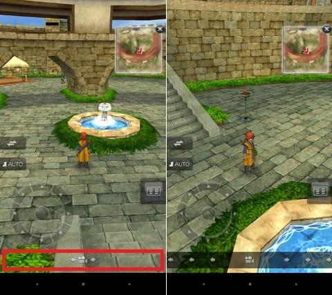 ドラゴンクエストVIII 空と海と大地と呪われし姫君:画面下部のカメラアイコン付近を左右にスワイプすれば、視点を自由に変更できる