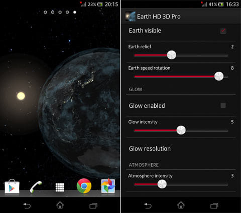 Earth HD 3D Free:夜になると灯りが瞬き幻想的な雰囲気になる(左)有料版にすると設定できる項目が増える(右)