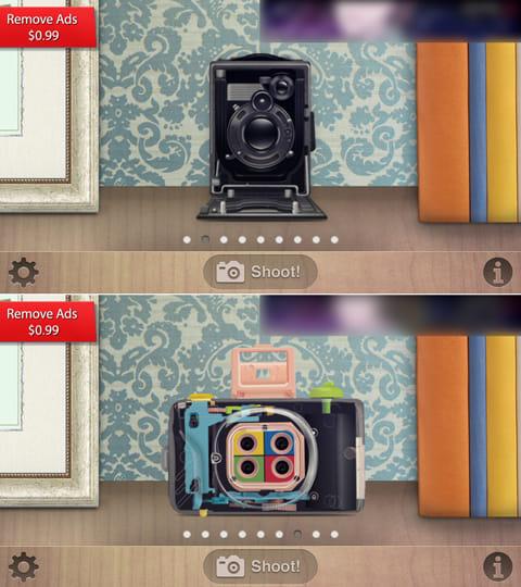 9種類のカメラを用意。古めかしい写真が撮れるオールドカメラ(上)4つのシーンを1枚にまとめられる4連写カメラ(下)