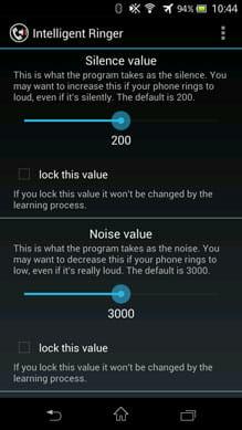 Intelligent Ringer:設定画面