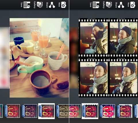 LOMOカメラ:様々な写真を加工しよう。「Fellini」(左)「Film」(右)
