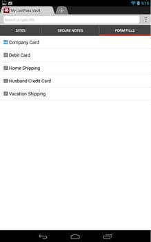 LastPass Password Mgr Premium*:自分の個人情報を登録できる