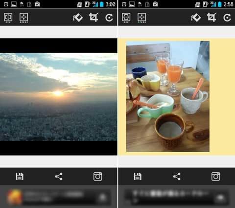 Insta Square Maker:横長の写真を収めると、映画のカットのよう(左)位置や大きさ、背景色も調整できる(右)