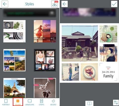 InstaMag - Magazine Collage:正方形に特化したコラージュのテンプレート(左)美しくコラージュしてくれる(右)