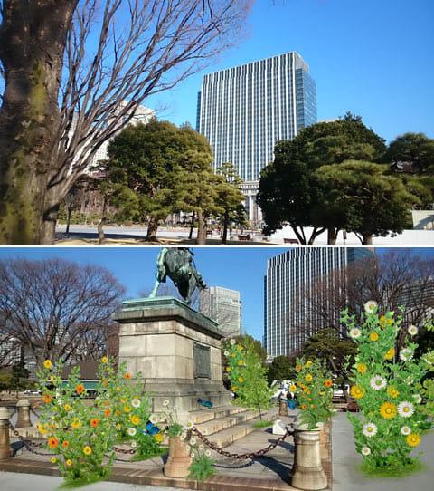 「Xperia Z Ultra」で撮影した風景(上)ARエフェクト機能を使ってみた。公園がいきなりお花畑になる(下)