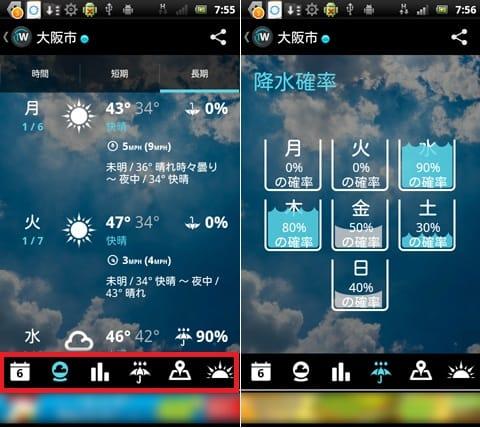 1Weather:画面下のメニューから情報を切り替える。1時間毎の天気情報画面(左)週間の降水確率画面(右)