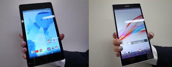 「Nexus 7(2013)」(左)と比べると、「Xperia Z Ultra」の方が、断然持ちやすい(右)