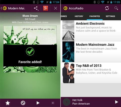 AccuRadio:好きなチャンネルは「FAVORITES」に登録(左)「FAVORITES」タブからお気に入りはすぐに選べる(右)