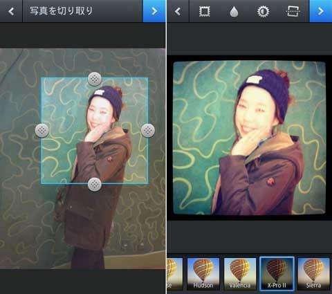 トリミングする時に構図をばっちり修正(左)アプリで加工すればさらにオシャレに(右)画像は『Instagram』を使用