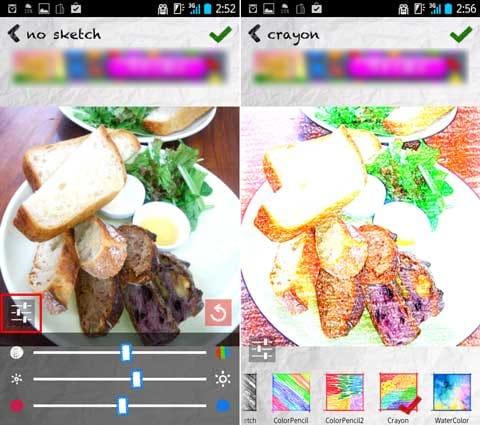 スケッチグル:色味や明るさの調整ができる(左)ワンタッチで高品質なスケッチ風に加工(右)