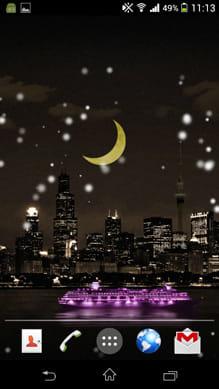 Snow in the city:船をタップするとライトアップの色が変化する