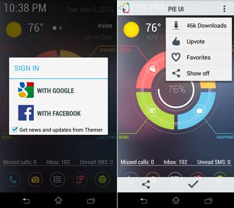 Themer Beta:「Google」から「Facebook」のアカウントでログイン(左)各テーマのDL数などをチェックできる(右)