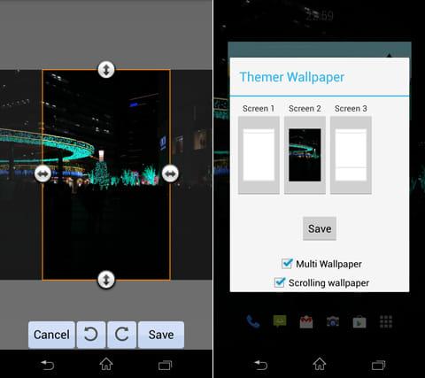Themer Beta:壁紙のトリミング(左)画面毎に違う画像の設定も可能(右)