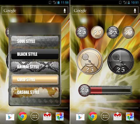 Battery Widget-Mens:デザインは5種類(左)サイズは3種類から選べる(右)